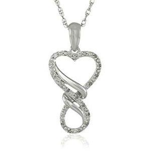 Jewelry - Silver Diamond Infinity Heart Pendant Necklace